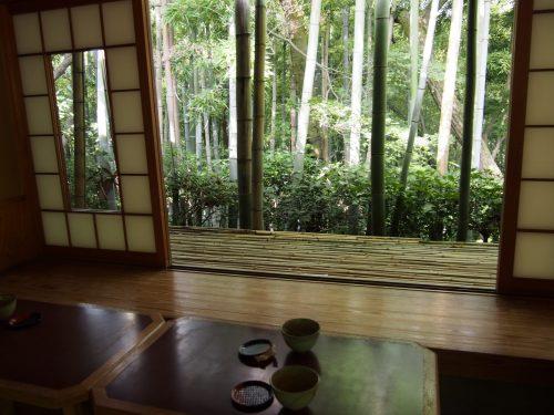 Prendre le thé face au jardin de la résidence Okochi Sanso, à Kyoto, Japon