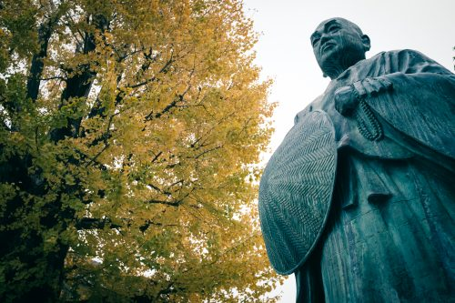 Temple Hongwanji Sakai Betsuin, qui joua un rôle dans la vie de Akiko Yosano, poétesse originaire de Sakai, Osaka, région de Kinki, Japon