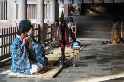 Rituel du matin au Sanctuaire Miho-jinja, à Mihonoseki, prefecture de Shimane, région du San'in, Japon