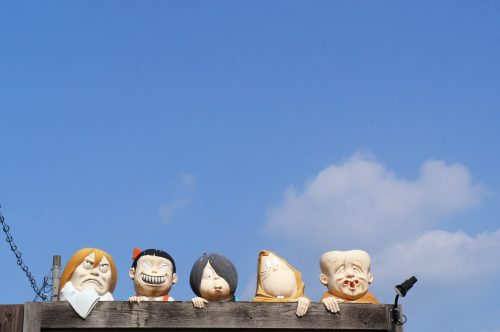 Personnages du manga Kitaro le long de la Mizuki Shigeru Road à Sakaiminato, région du San'in, Tottori, Japon