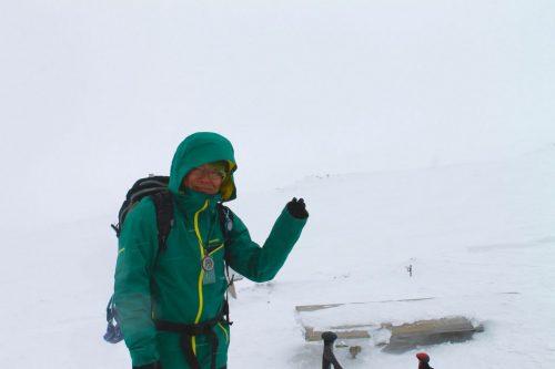 Asahidake, Hokkaido : M. Toba, le guide, devant le paysage blanc