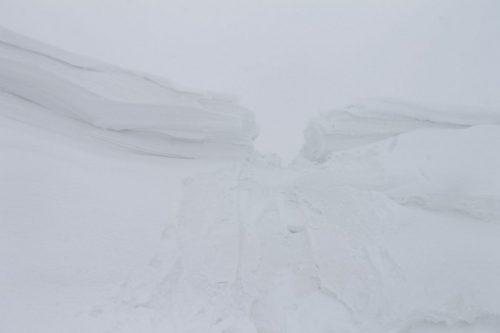 Asahidake, Hokkaido : la partie déblayée vue d'en bas (sur le lac gelé)