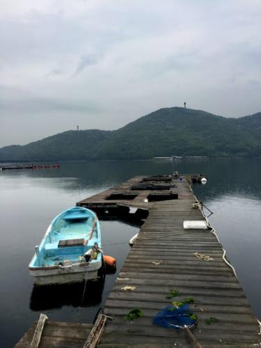 Ponton devant le Shimizu Marine Inn à Kamae, Oita, Kyushu