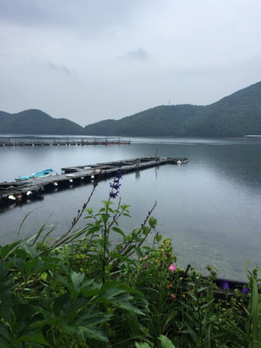 Vue de la baie depuis Shimizu Marine Inn à Kamae, Oita, Kyushu