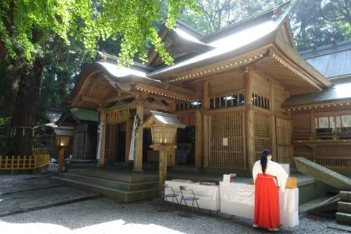 Une miko vêtue de rouge et blanc devant le bâtiment principal du sanctuaire de Takachiho, Miyazaki, Kyushu