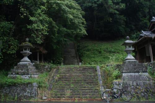 Les marches du sanctuaire que l'on voit dans le film de Naomi Kawase, qui s'enfoncent dans la forêt à Asuka