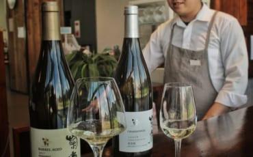 Verres et bouteilles de Chardonnay prêts pour la dégustation