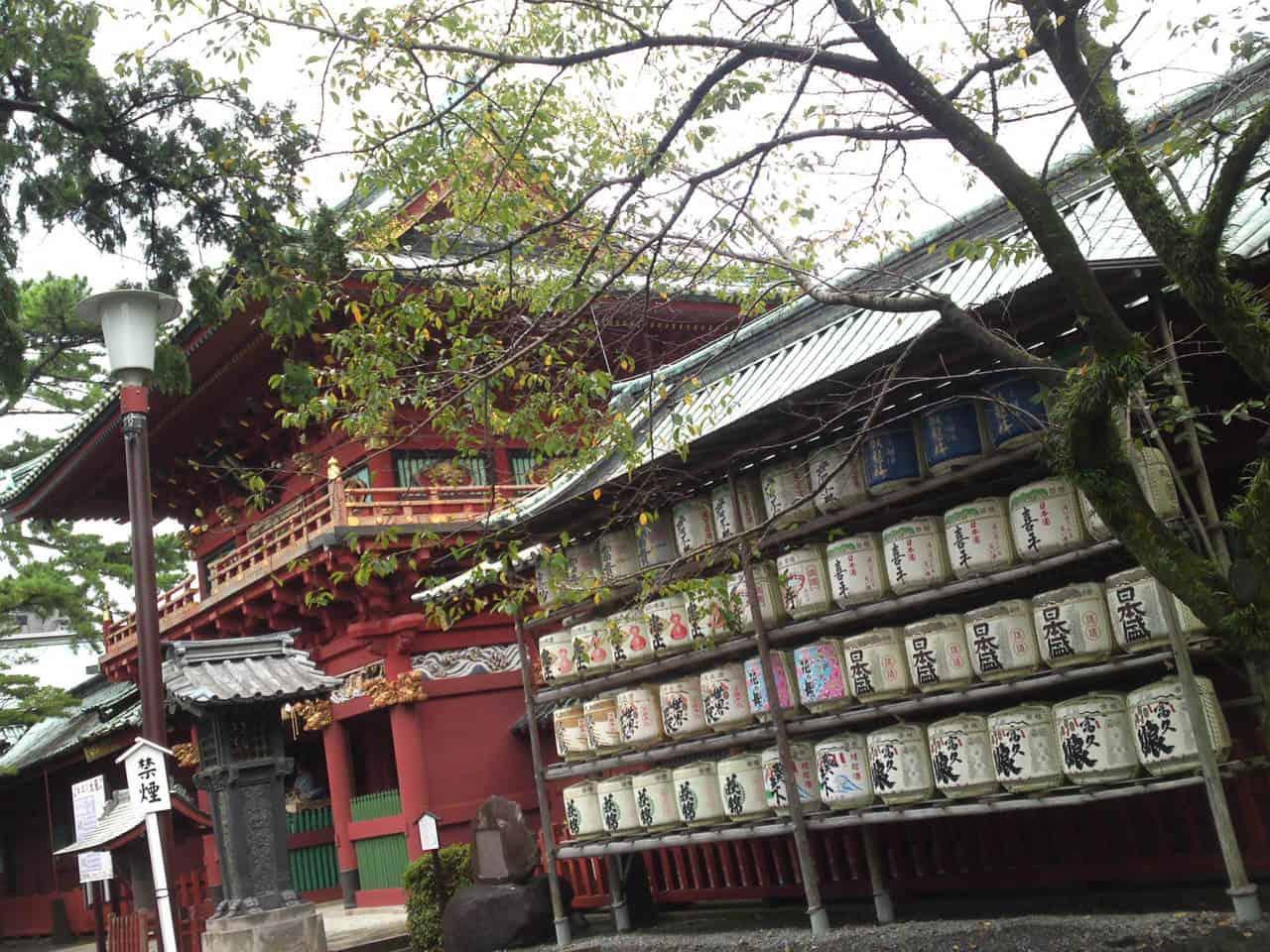 here is sake offerings at Sengen Shrine in Shizuoka