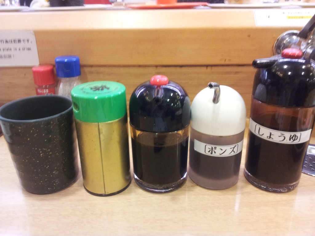 condiments provided at Japanese Sushi train restaurants