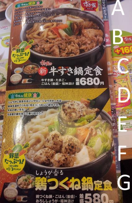 Japanese Gyudon Restaurant sukiya menu
