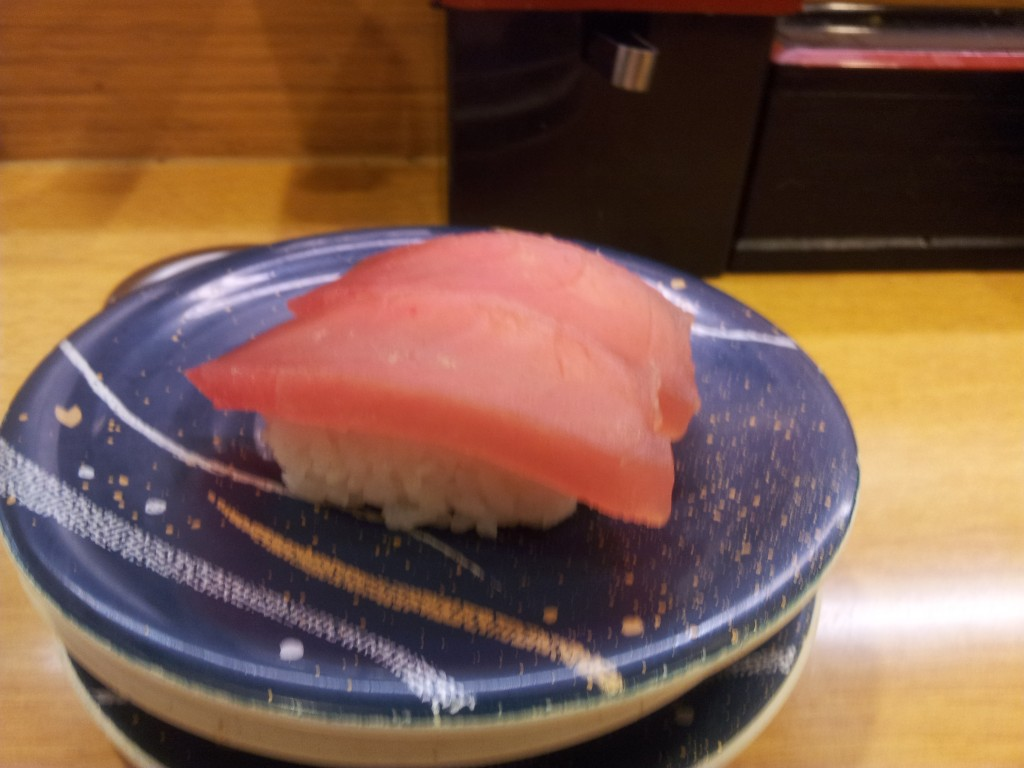 tuna sushi at Japanese Sushi train restaurants
