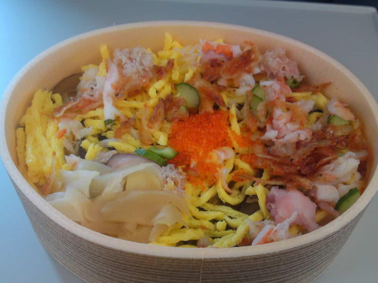 Ekiben is the abbreviation of Eki (station) and Bento (packed lunch),mishima , chirashi zushi