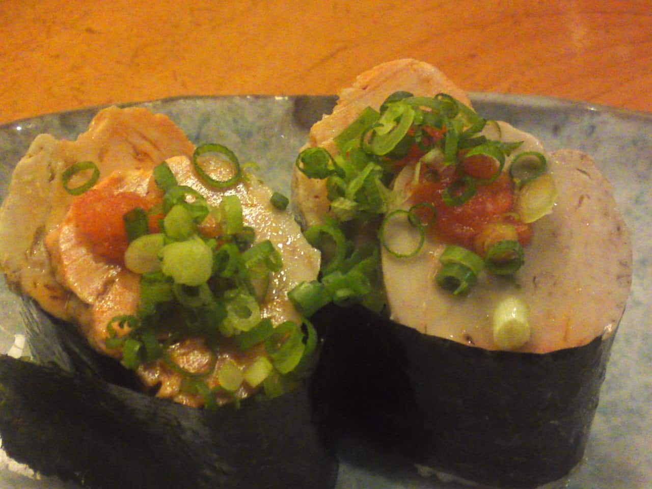 """""""Ankimo/Steamed monkfish liver in Japanese sake and preserved like a terrine"""" seasoned with momiji oroshi and chopped scallion! """"Ankimo"""" is also called """"Japanese foie gras"""""""