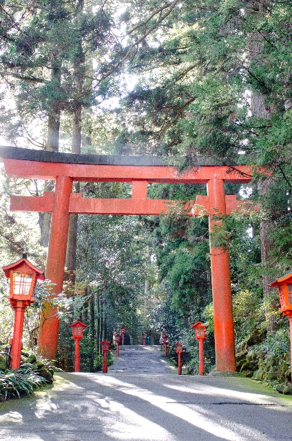 shrine and its red torii gate in Hakone