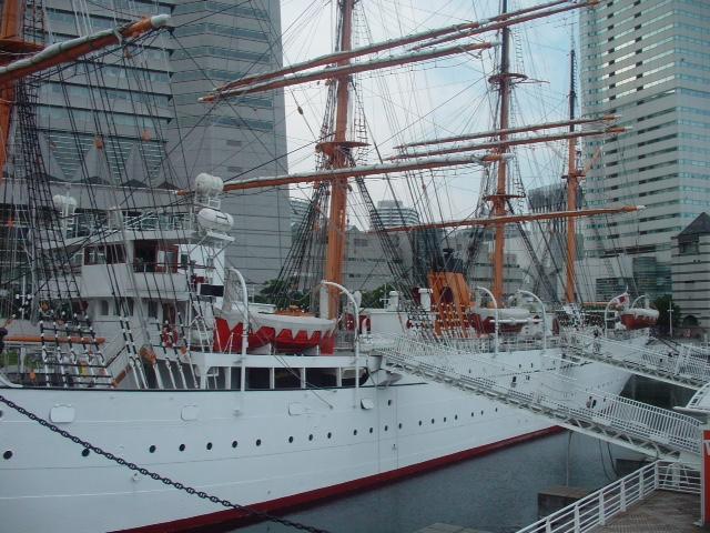 A white ship in Yokohama