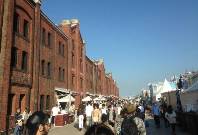 Outdoor shopping store array at Yokohama Red Brick Warehouse, Yokohama Port