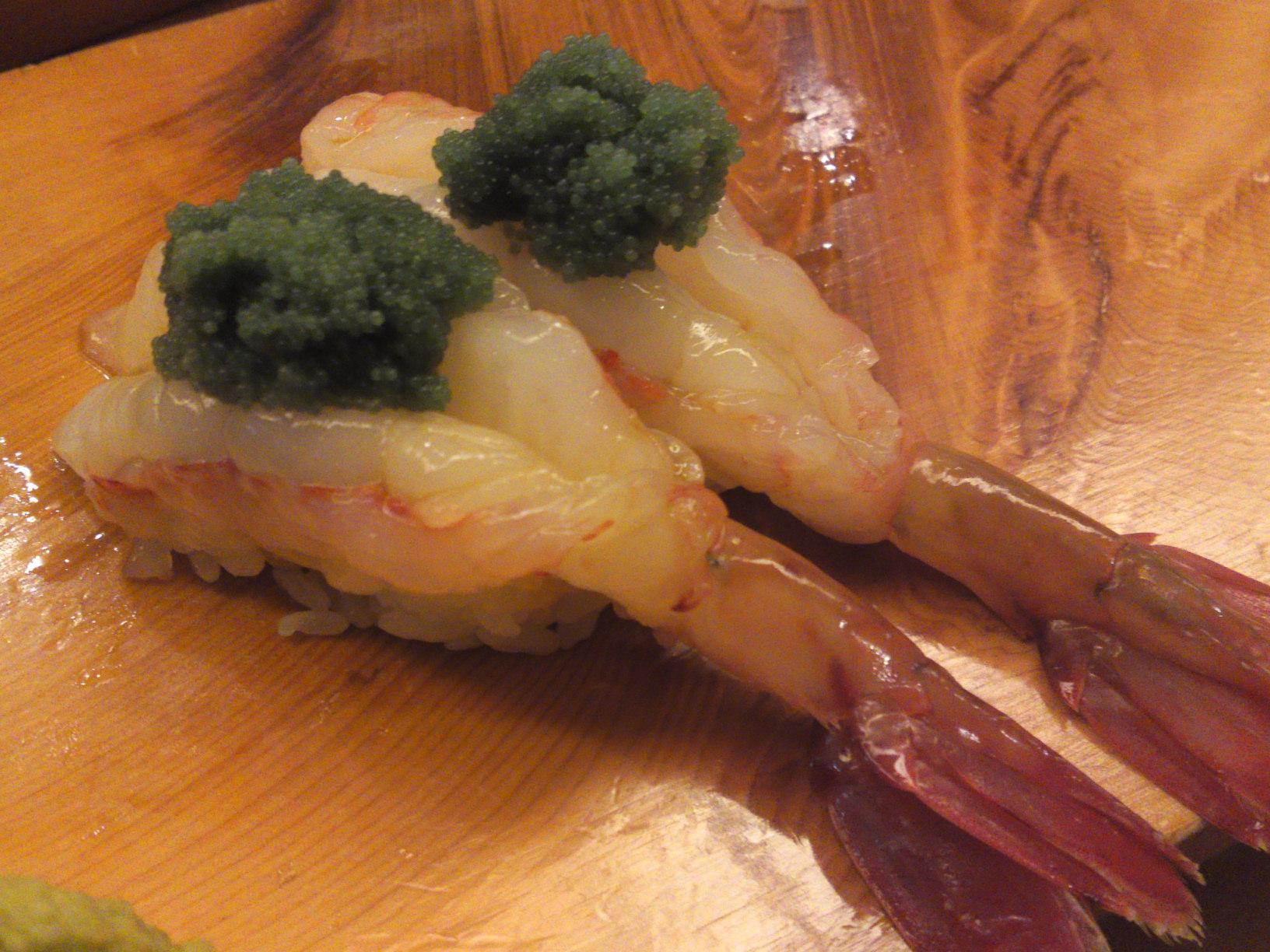 """""""Botan ebi/Large sweet prawns"""" nigiri topped with their roe"""
