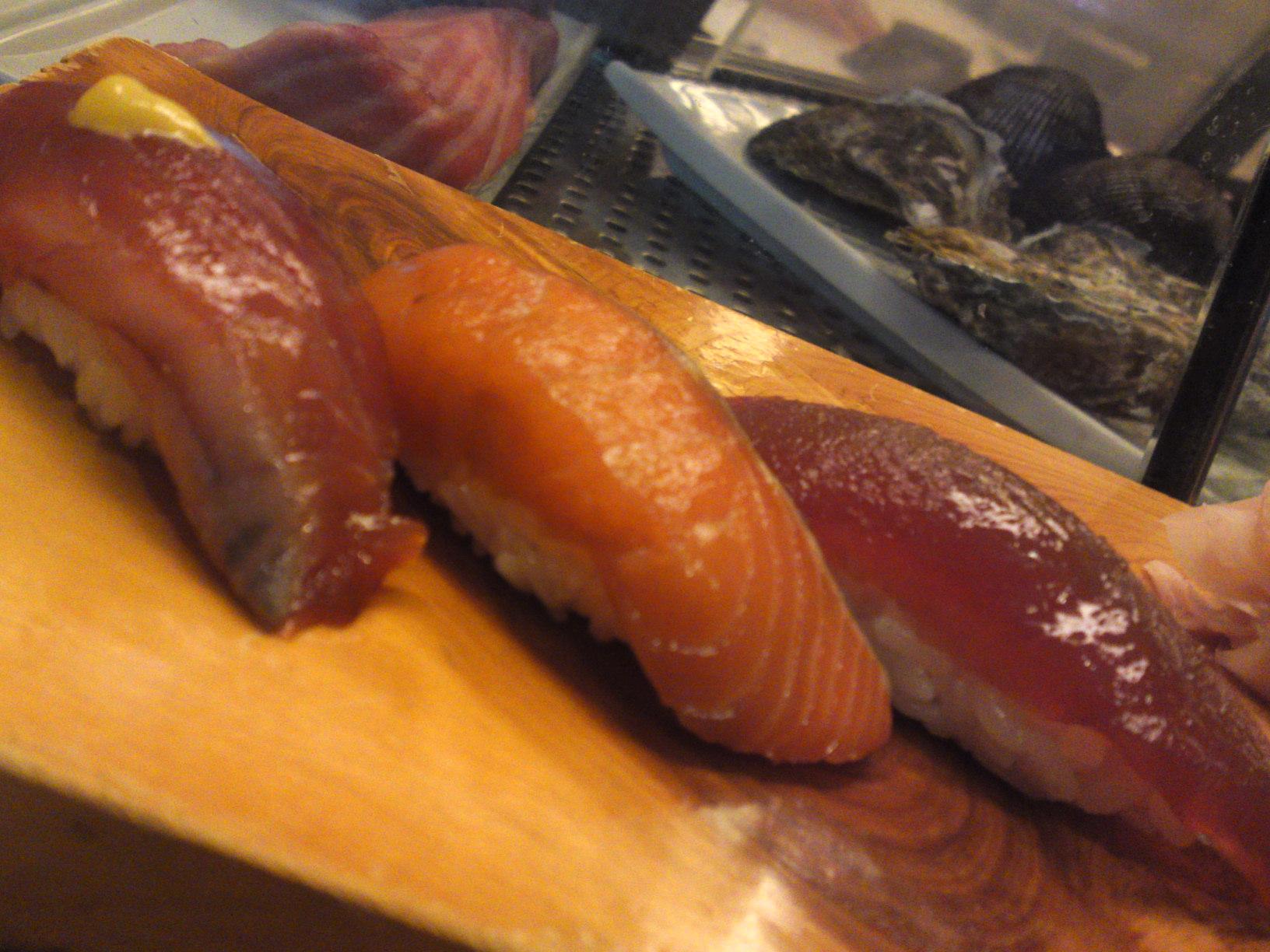 """Katsuo/Bonito"", ""Shake/Salmon"" and ""Hon Maguro/Blue Fin Tuna"", all marinated beforehand, in a ""Zuke"" style."