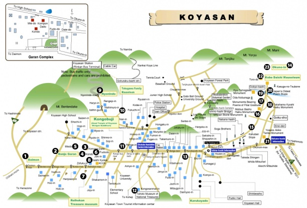 Town map near Mount Koya