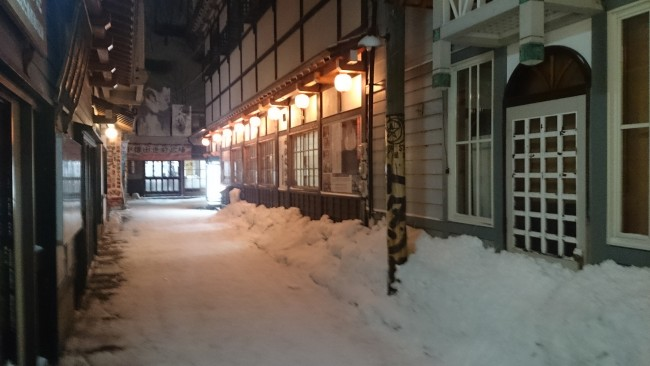 Snow covered street in Otaru
