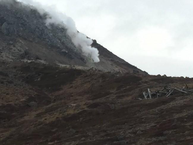 Steam filtering through the mountain, Mount Nasu, five volcano peaks within Nikko