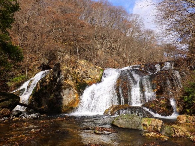 From a hiking path by the waterfall at Tamasudare Falls, one waterfall among many around Nikko