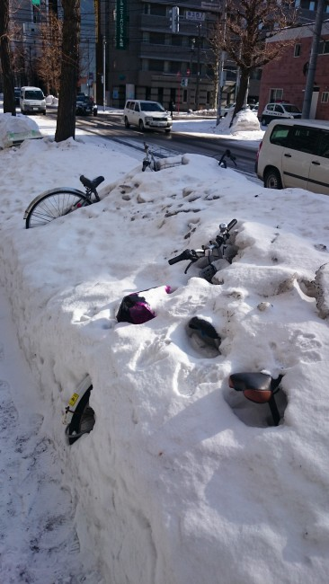 Bikes buried under the intense Sapporo snow