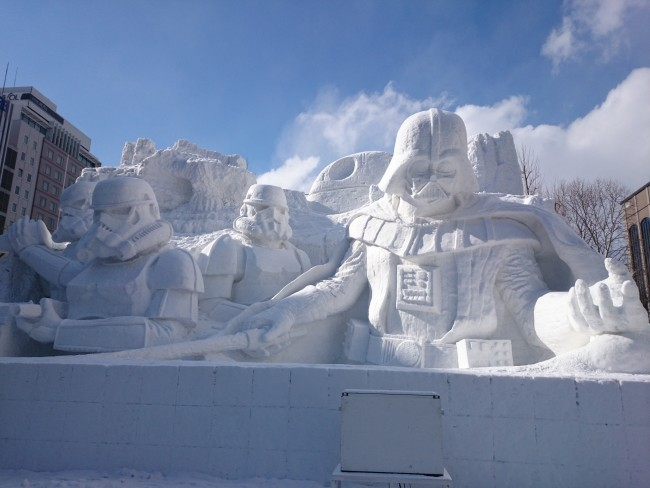 Star Wars snow sculpture at Odori Park