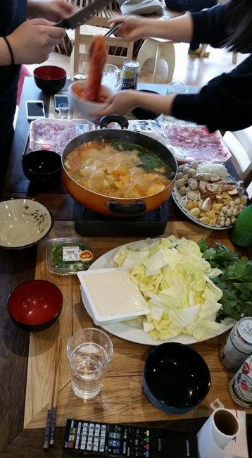 A recipe spread at dinner eating Japanese hot pot, homemade recipe