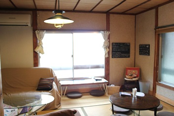 Cafe interior at Naoshima island's Cafe Konichiwa