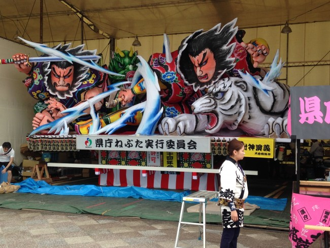Colorful float like art at the Nebuta Matsuri Festival.
