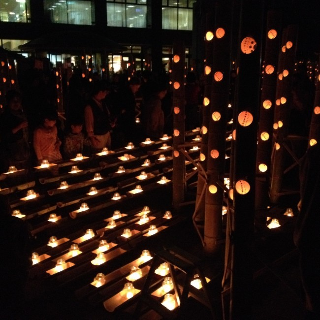 people of Kumamoto gather to light candles for the Mizu Akari Festival