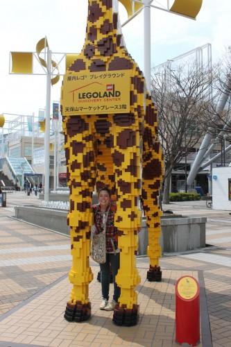 Giraffe made from legos at Legoland, next to the aquarium in Osaka