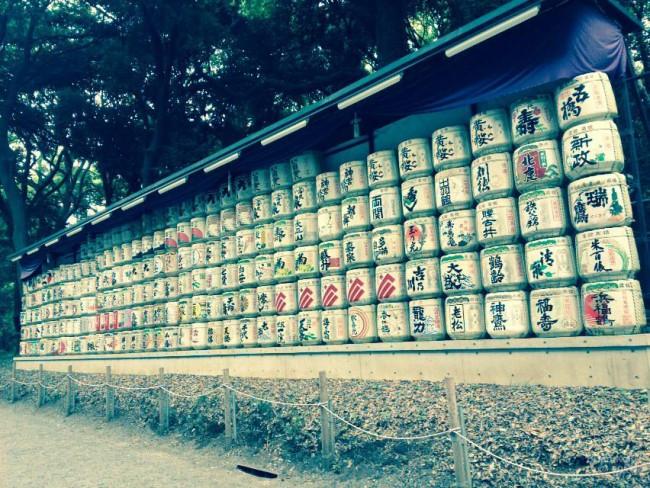 Meiji Shrine grounds in Tokyo, sake barrels