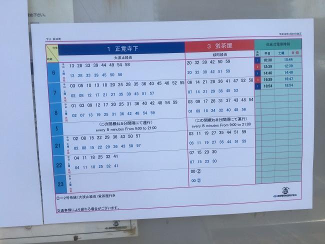 City tram schedule of Nagasaki