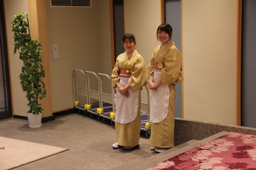 staff wearing kimonos in a hot spring / onsen hotel, Iwate