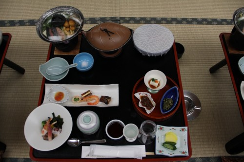 traditional Japanese meal in a hot spring / onsen hotel