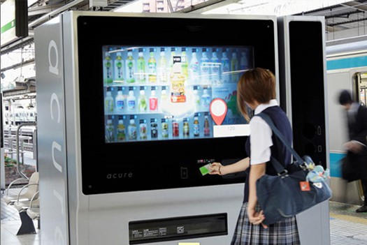 because technology in Japan is evolving, touch screen vending-machines are avaliable