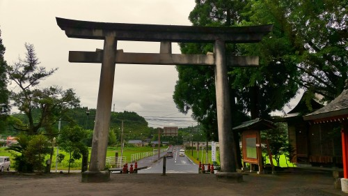 Torii gate at entrance of Toyotama shrine in Kagoshima.