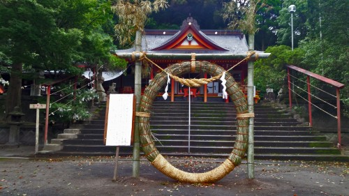 Giant wreath in front Toyotama shrine in Kagoshima.
