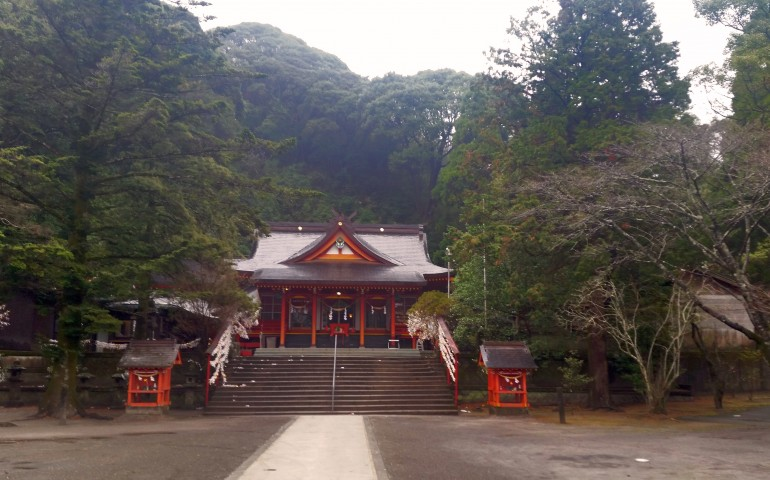Entrance of Toyotama shrine in Kagoshima.