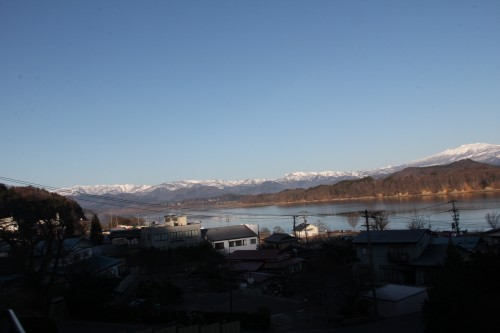 Views of Lake Goshoko and the mountains from hot spring / onsen hotel, Iwate