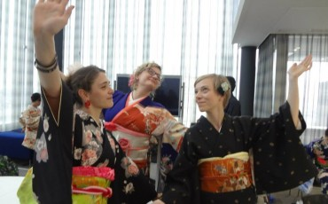 Having fun in our vintage kimono in Tokyo!