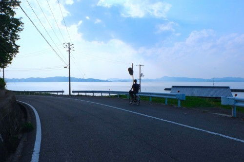Naoshima coastline, enjoying a calm art festival looking out towards other art islands among the Seto Inland Sea