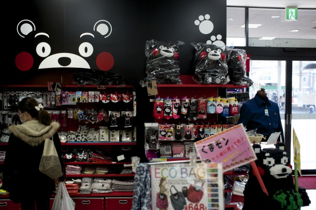 many goods of Kumamon mascot are sold in Japan
