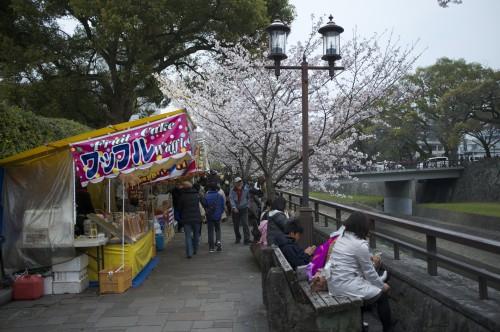 Food stalls along Kumamoto castle
