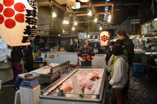 The vendors at Tsukiji fish wholesale market