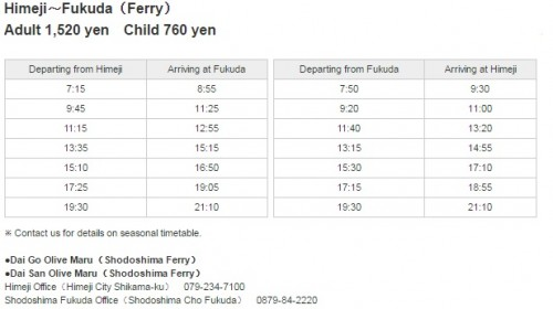 Himeji-Fukuda ferry fares and schedule