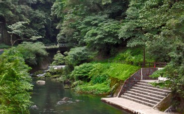 River before foot onsen in Kagoshima.