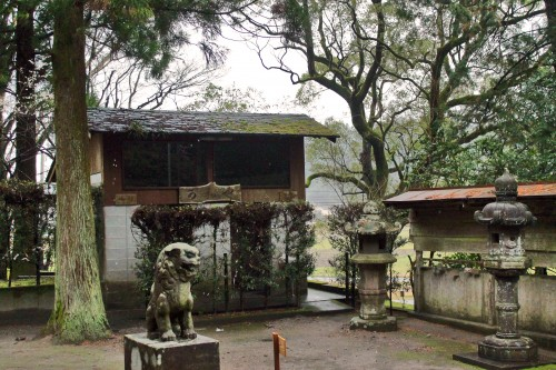 Stone statues at Toyotama shrine in Kagoshima.